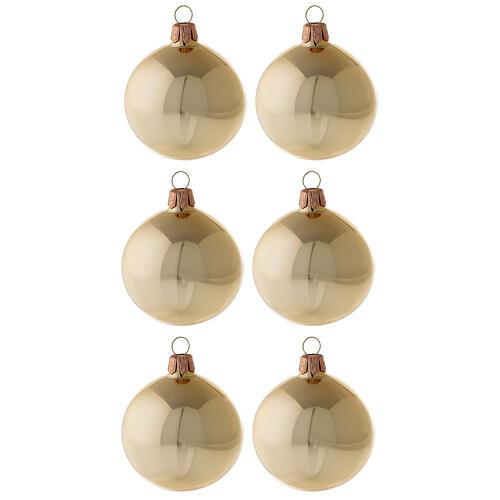 Bolas árvore de Natal vidro soprado ouro brilhante 60 mm 6 unidades 1