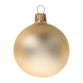 Gold Christmas balls 6 cm diameter matte blown glass, 6 pcs set s2
