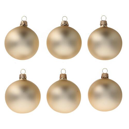 Gold Christmas balls 6 cm diameter matte blown glass, 6 pcs set 1