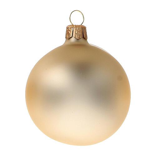 Gold Christmas balls 6 cm diameter matte blown glass, 6 pcs set 2