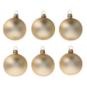 Boule de Noël or pale mat 60 mm verre soufflé 6 pcs s1