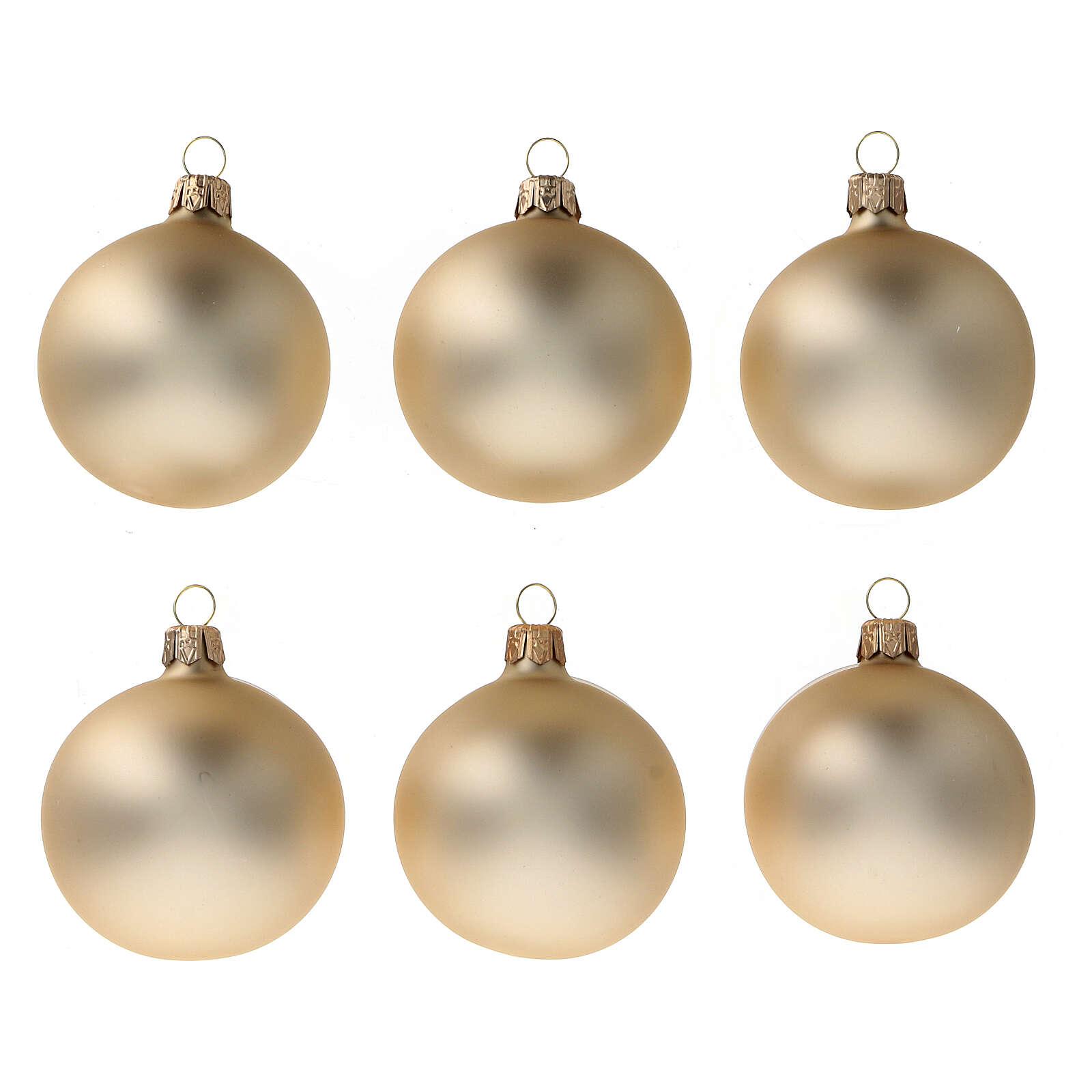 Pallina albero Natale oro pallido opaco 60 mm vetro soffiato 6 pz 4
