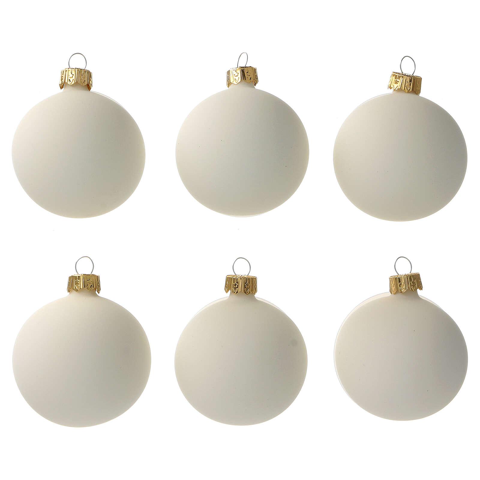 Cream-white matte Christmas balls 6 pcs set blown glass 4