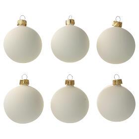 Cream-white matte Christmas balls 6 pcs set blown glass s1
