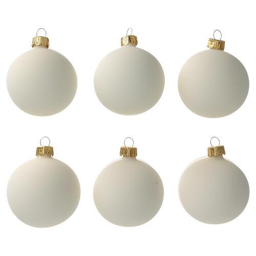 Cream-white matte Christmas balls 6 pcs set blown glass 1