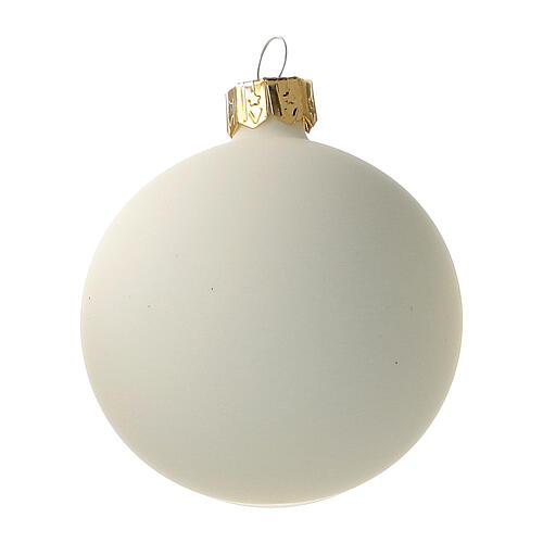 Cream-white matte Christmas balls 6 pcs set blown glass 2