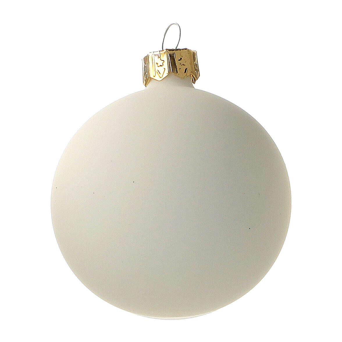 Bolas árvore de Natal vidro soprado cor creme 60 mm 6 unidades 4