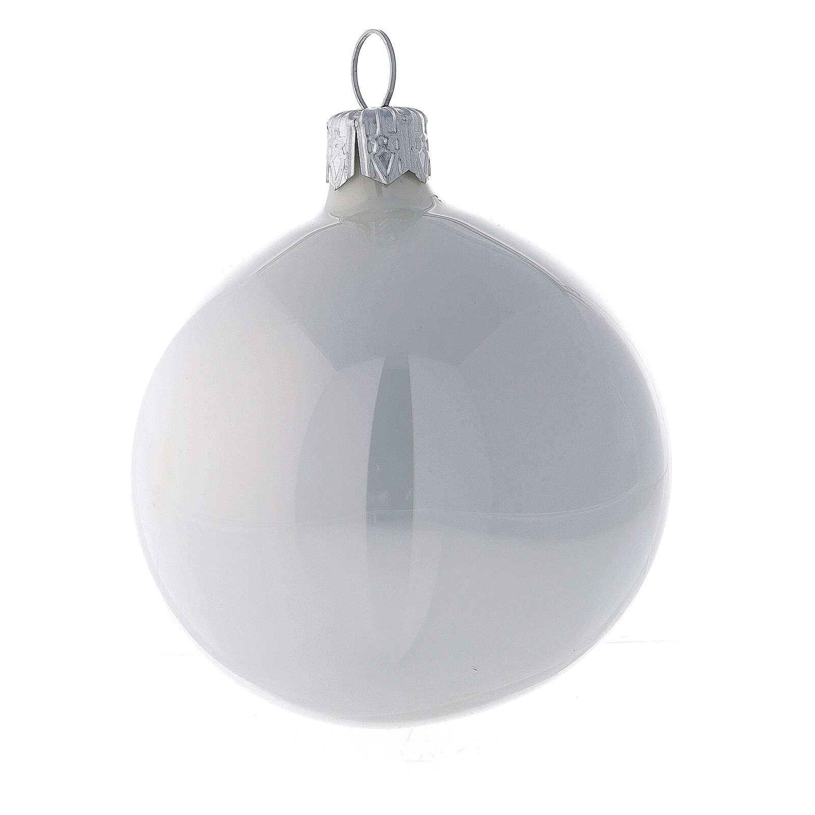 Pallina vetro soffiato albero Natale bianco perla lucido 60 mm 6 pz 4