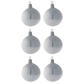 Pallina vetro soffiato albero Natale bianco perla lucido 60 mm 6 pz s1