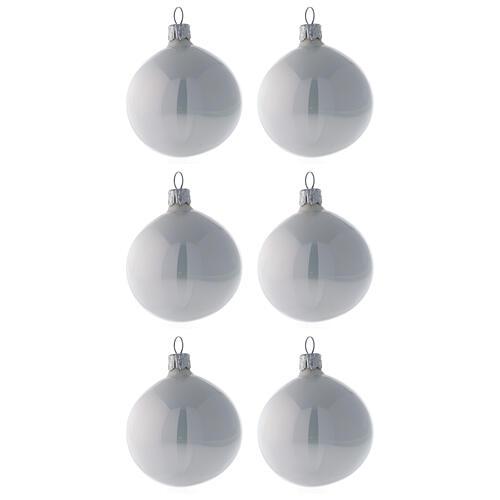 Pallina vetro soffiato albero Natale bianco perla lucido 60 mm 6 pz 1