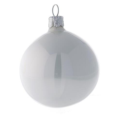 Pallina vetro soffiato albero Natale bianco perla lucido 60 mm 6 pz 2