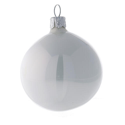 Blown glass Christmas balls shiny white pearl 6 pcs 60 mm 2