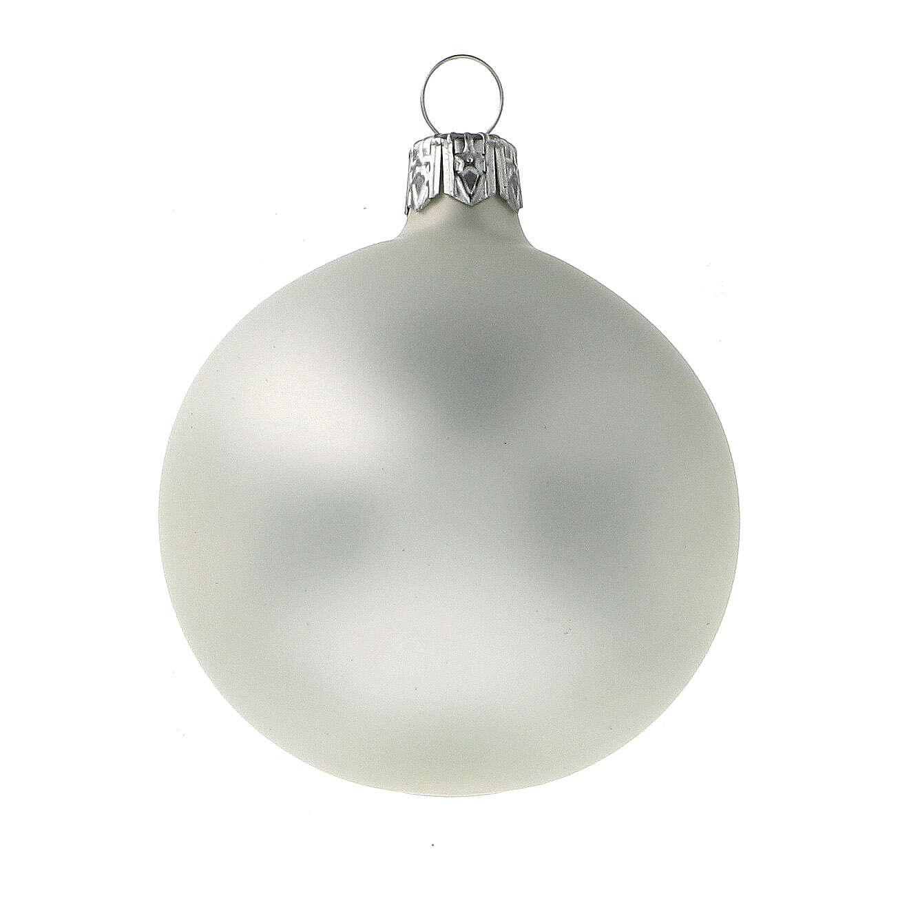Palla albero Natale 60 mm grigio perla opaco 6 pz vetro soffiato 4