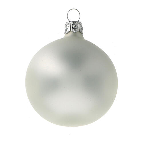 Palla albero Natale 60 mm grigio perla opaco 6 pz vetro soffiato 2