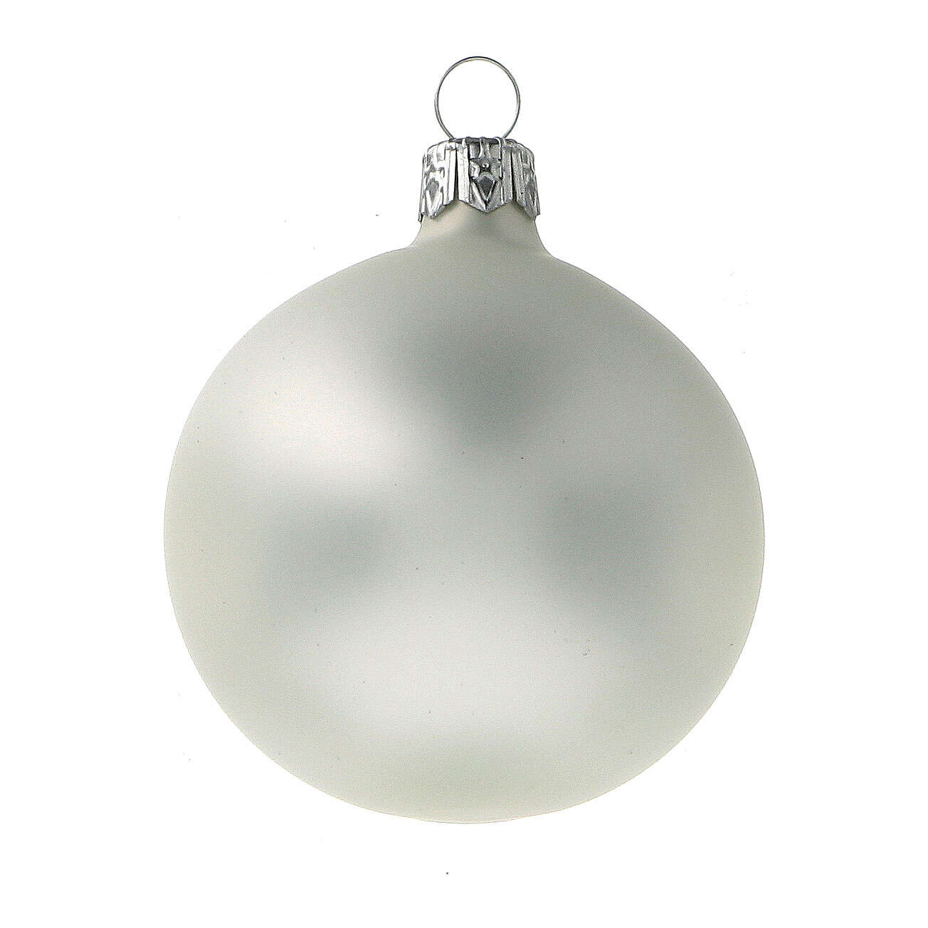 Christmas tree ornaments 60 mm matte grey pearl 6pcs blown glass 4