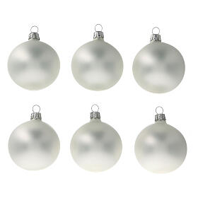 Christmas tree ornaments 60 mm matte grey pearl 6pcs blown glass s1
