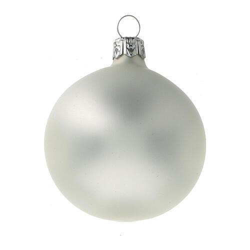 Christmas tree ornaments 60 mm matte grey pearl 6pcs blown glass 2