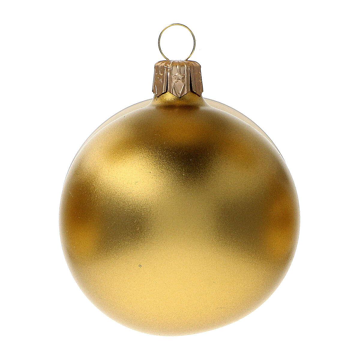 Palline addobbo Natale oro opaco satinato 60 mm vetro soffiato 6 pz 4