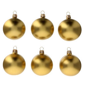 Christmas tree ornaments satin matte gold 60 mm blown glass 6 pcs s1