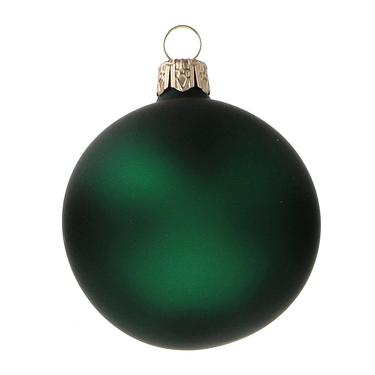 Green matte blown glass Christmas balls 6 cm 6 pcs 4