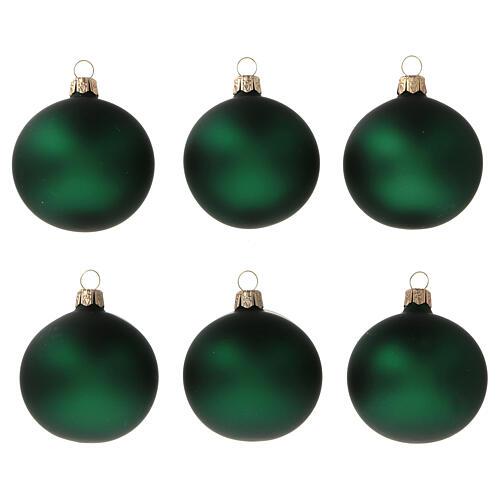 Green matte blown glass Christmas balls 6 cm 6 pcs 1