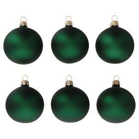 Bolas árvore de Natal vidro soprado verde opaco 60 mm 6 unidades s1