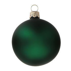 Bolas árvore de Natal vidro soprado verde opaco 60 mm 6 unidades s2