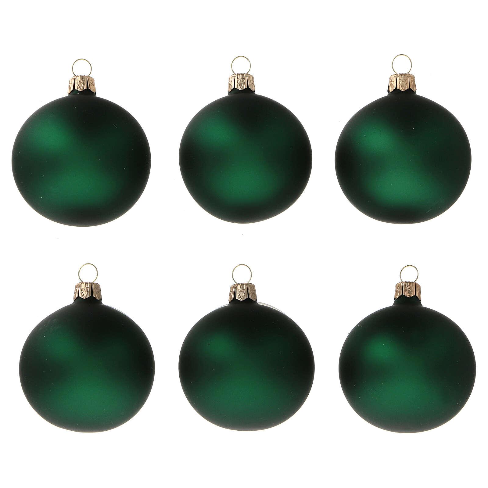 Christmas balls matte green 60 mm blown glass 6 pcs 4