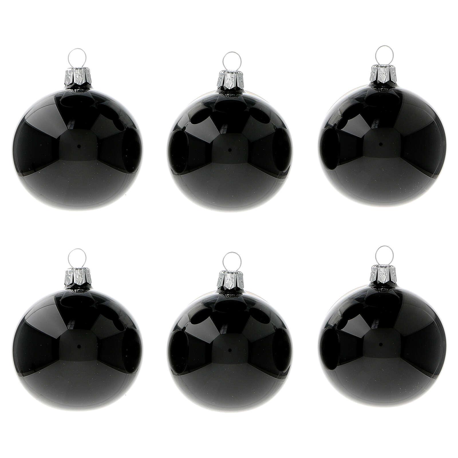 Black shiny blown glass Christmas balls 6 cm 6 pcs 4