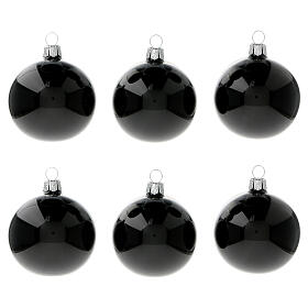 Black shiny blown glass Christmas balls 6 cm 6 pcs s1