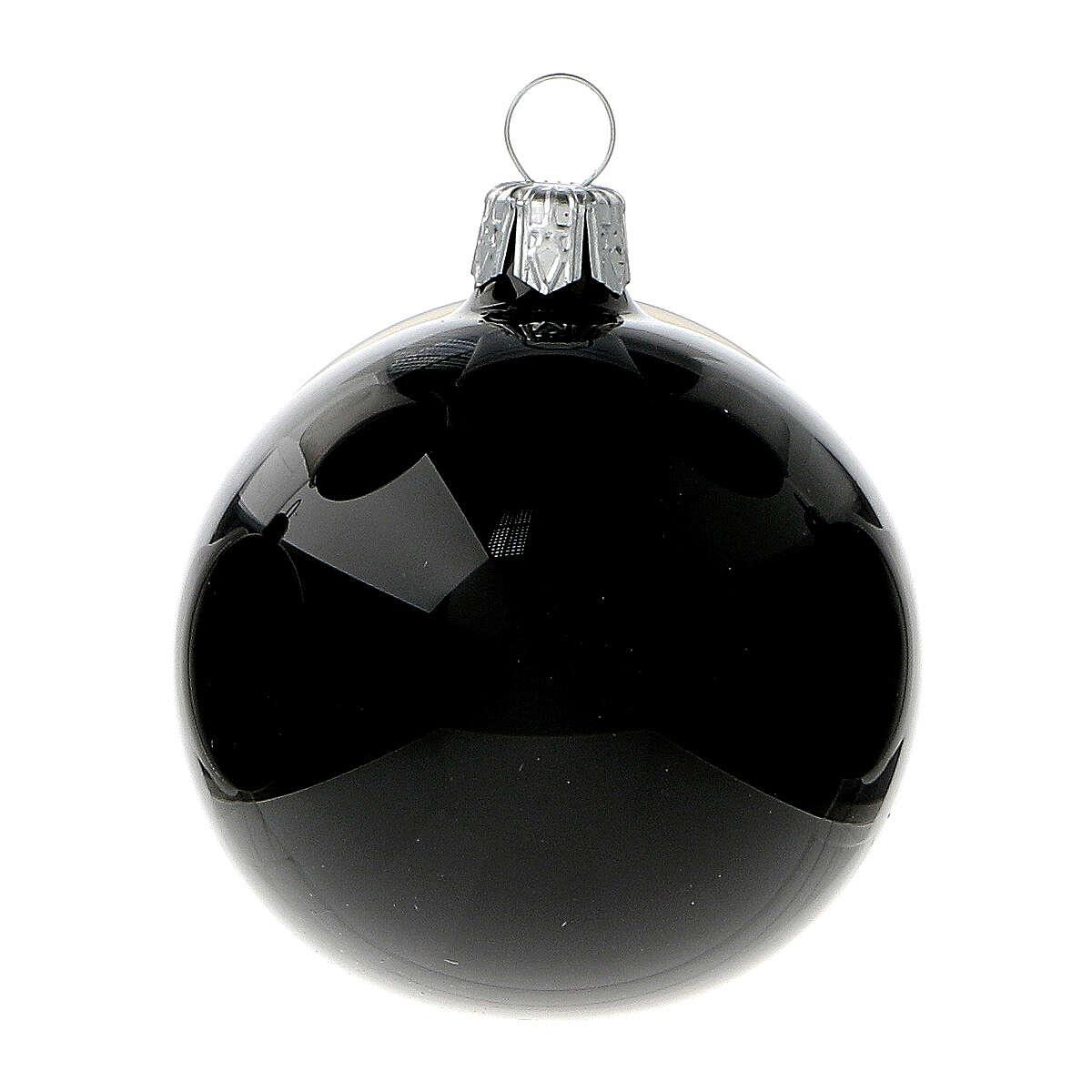 Boules de Noël noir brillant 60 mm verre soufflé 6 pcs 4