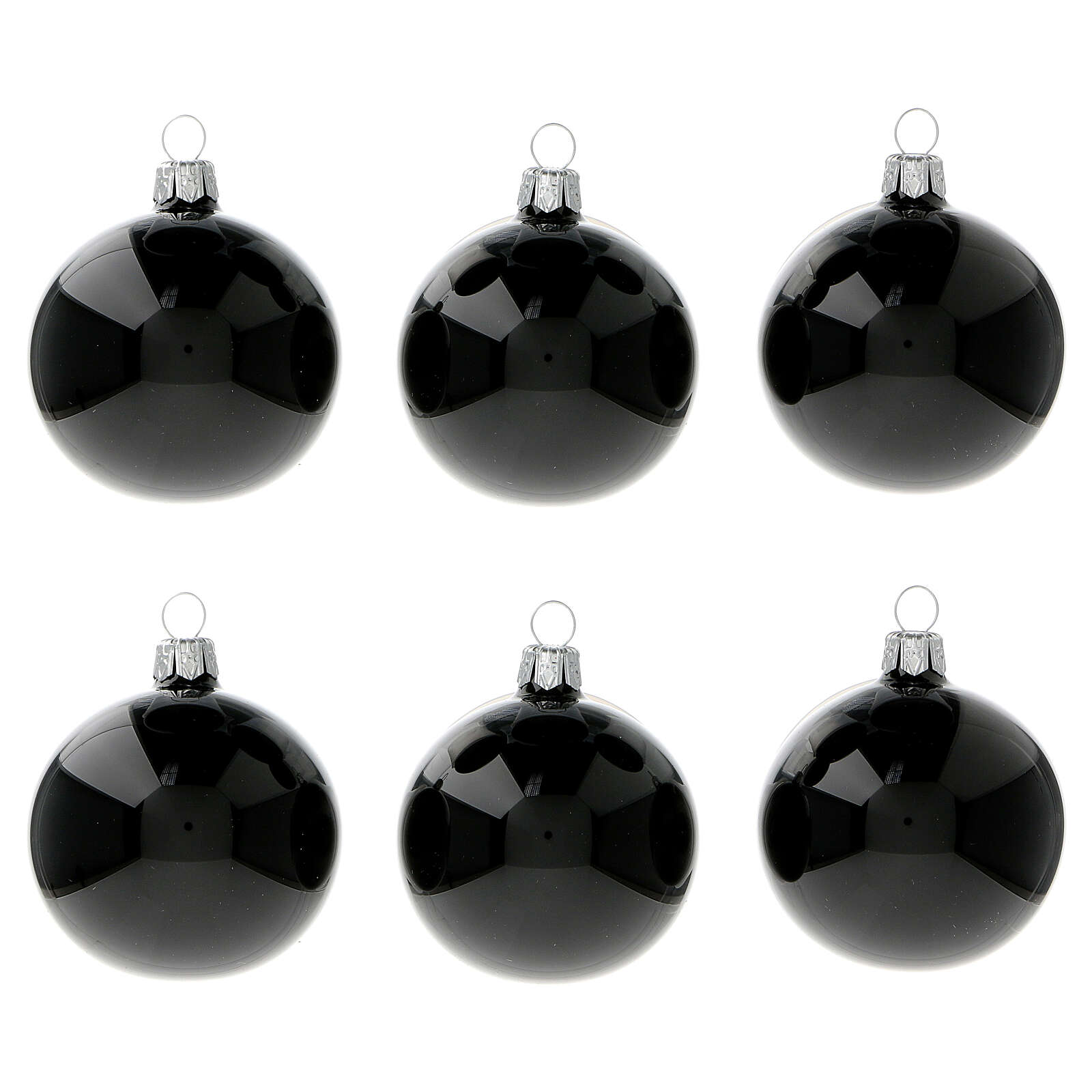 Palline albero Natale nero lucido 60 mm vetro soffiato 6 pz 4