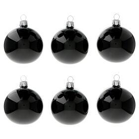 Bolas árvore de Natal vidro soprado preto brilhante 60 mm 6 unidades s1
