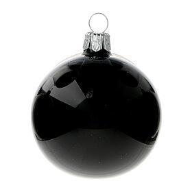 Bolas árvore de Natal vidro soprado preto brilhante 60 mm 6 unidades s2