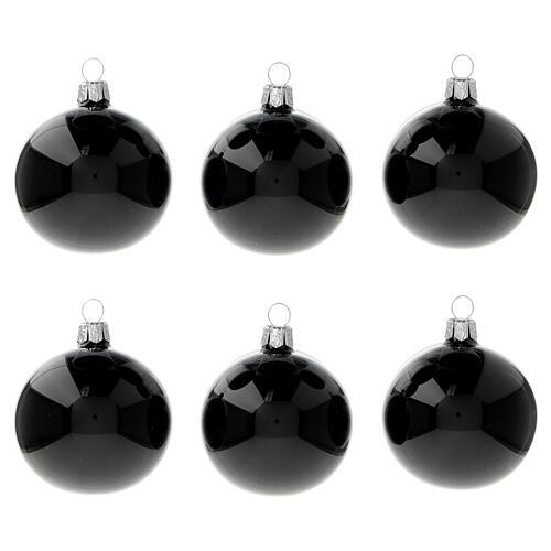 Christmas balls shiny black 60 mm blown glass 6 pcs 1