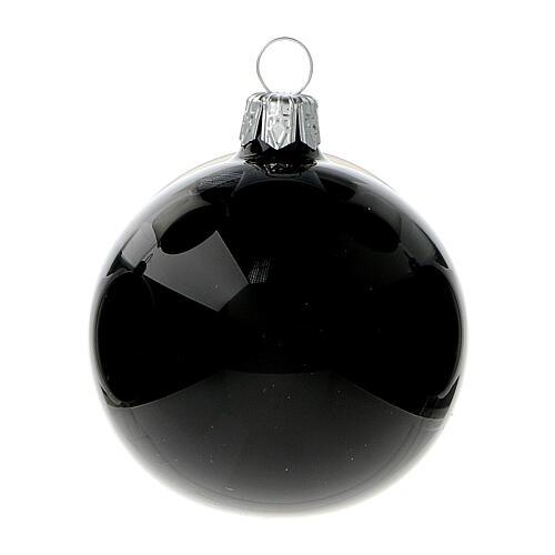 Christmas balls shiny black 60 mm blown glass 6 pcs 2