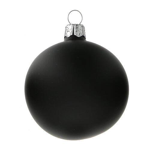 Christmas tree ball matt black blown glass 60 mm 6 pcs 2