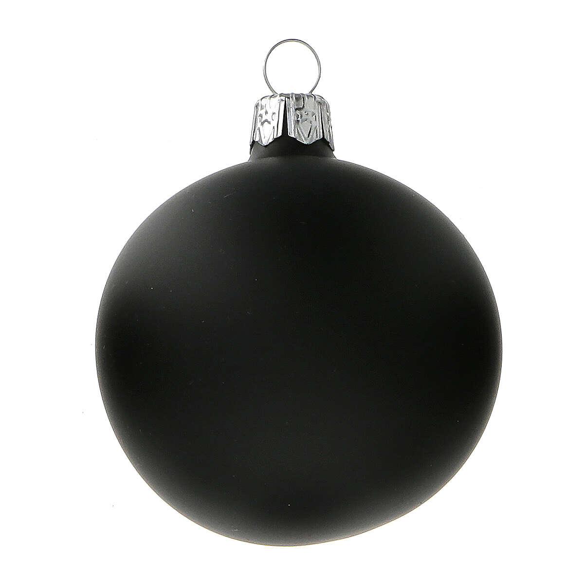 Palla albero Natale nero opaco vetro soffiato 60 mm 6 pz 4