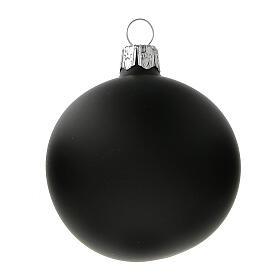 Palla albero Natale nero opaco vetro soffiato 60 mm 6 pz s2