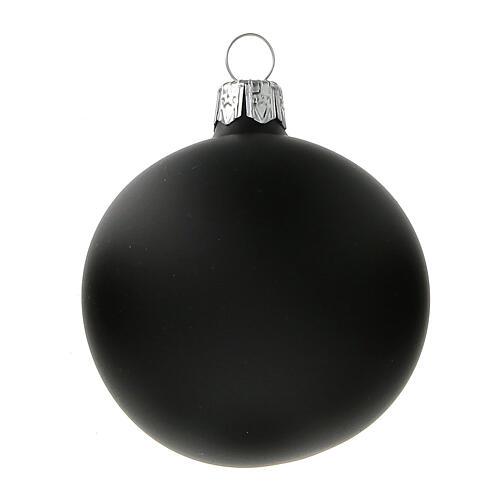 Palla albero Natale nero opaco vetro soffiato 60 mm 6 pz 2