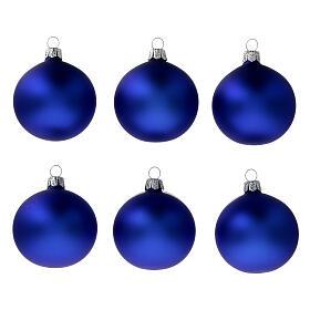 Palline natalizie albero blu opaco vetro soffiato 60 mm 6 pz s1