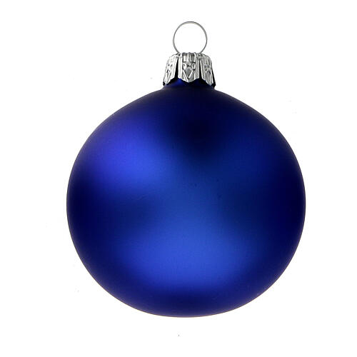 Glass Christmas balls matte blue 60 mm 6 pcs 2