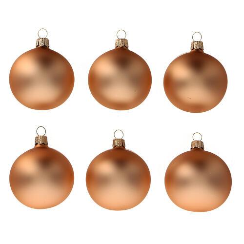 Set 6 balls Christmas tree copper blown glass 60 mm 1