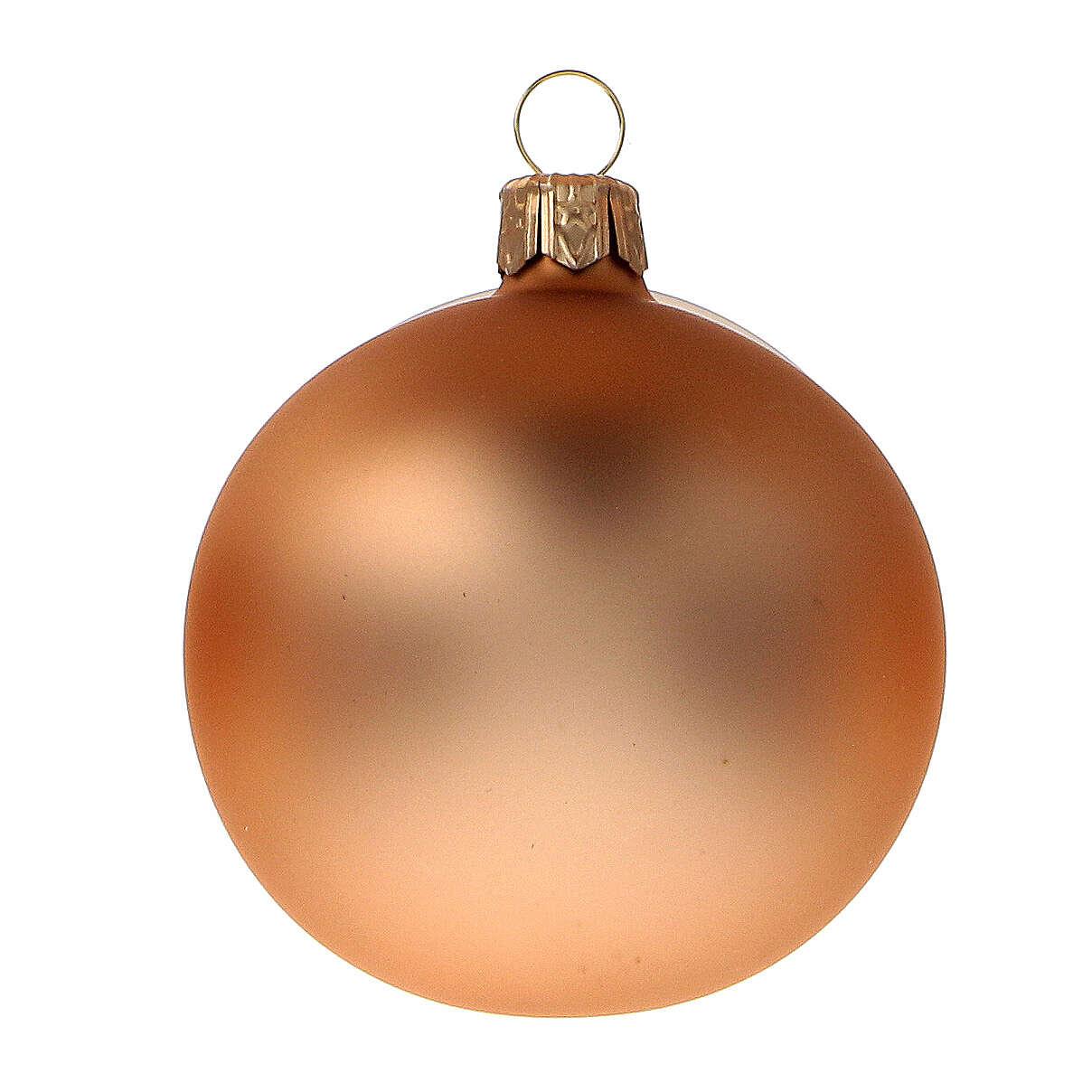 Set 6 palline albero Natale rame vetro soffiato 60 mm 4