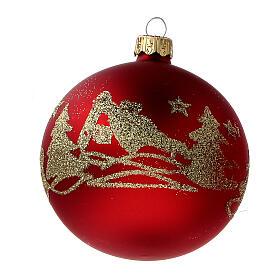 Palla albero Natale vetro soffiato rosso opaco glitter oro 80 mm 6 pz s3