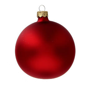Palla albero Natale vetro soffiato rosso opaco glitter oro 80 mm 6 pz s4