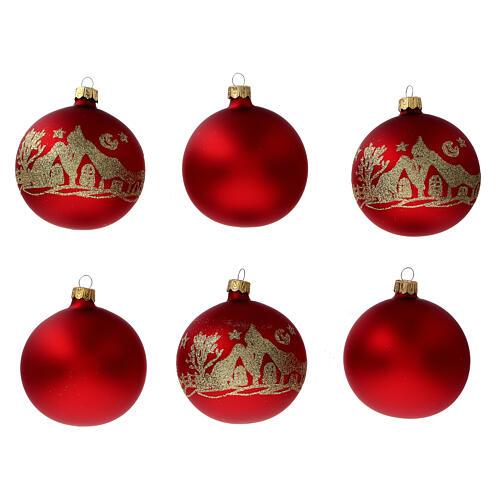 Palla albero Natale vetro soffiato rosso opaco glitter oro 80 mm 6 pz 1