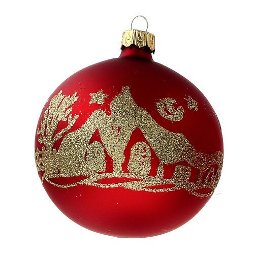 Palla albero Natale vetro soffiato rosso opaco glitter oro 80 mm 6 pz 2