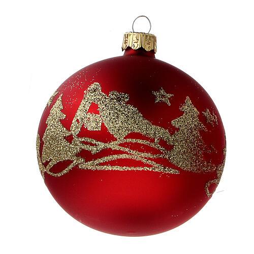 Palla albero Natale vetro soffiato rosso opaco glitter oro 80 mm 6 pz 3