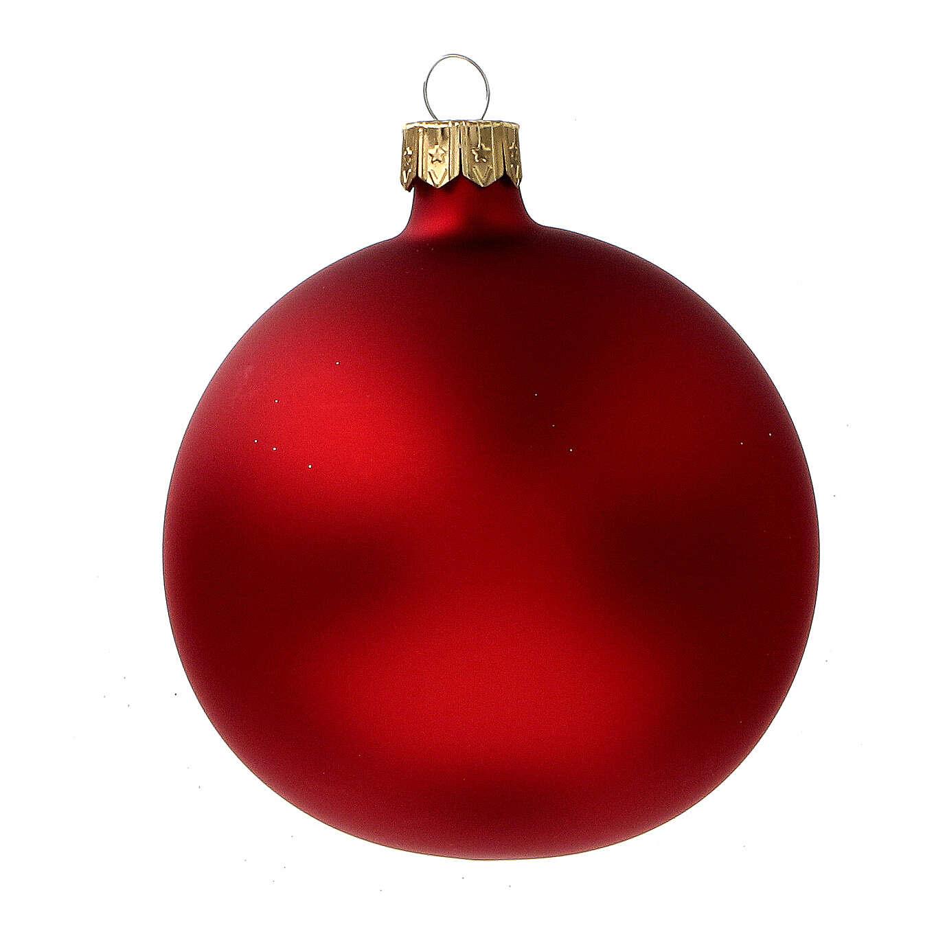 Glass Christmas balls in matte red gold glitter 80 mm 6 pcs 4